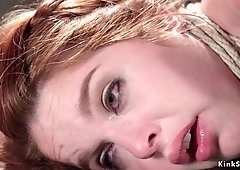 Spanish redhead gets exciting wax and vibrator