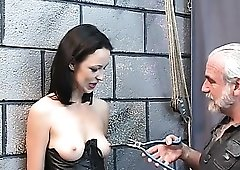 Teaching the cute sub girl about nipple pain