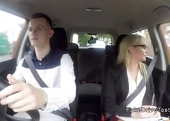 Milf driving examiner bangs big cock in car