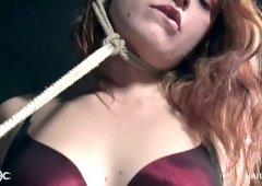 Kinda hogtied Fallon West gets her slit masturbated almost nonstop