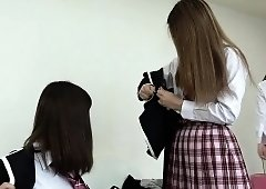 Two naughty Japanese teens put their hairy cunts on display