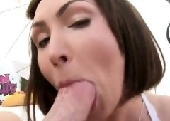 Gorgeous peach displays huge butt and gets anal drilled
