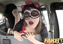 Insane honey in a Halloween mask gets picked up and banged on the back seat of the Faux Cab