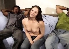 Trashy young brunette Noname Jane gets gangbanged by horny black men