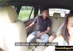euro cabbie hottie blows dick outdoors