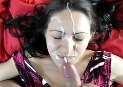 Buxom brunette gives a blowjob and takes a hot facial in POV