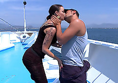 Latina slut with a tattooed back Sophia Santi rides dick on a yacht