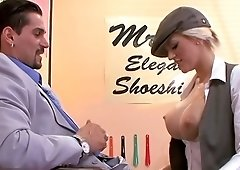 Shoe shine employee Eve Laurence gets nailed by client