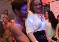 Busty european babes cocksucking at sexparty