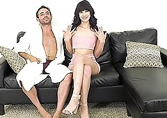 Slim babe Eden Sin has to moan while a friend fucks her on the couch