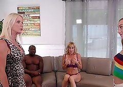 Hardcore interracial group sex with Brandi Love and Cammille Austin