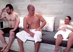 Short haired MILF fucks her son's friend in sauna