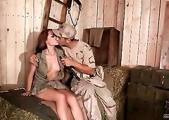 Army guy eats out and toys this sexy girl