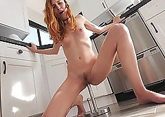 Skinny chick Eva likes to bounce on a stiff toy while she moans