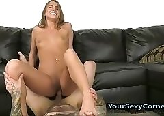 Cum On My College GFs Feet After Hardcore Condom Sex