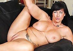 Brunette Mommy Strip And Flick Her Minge