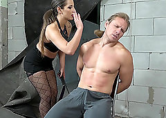 Lucky guy got surprised with handjob by amazing Obey Laura on the chair