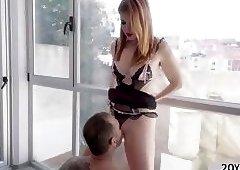 Big ass Irina Vega gives hunk dudes big cock a handjob