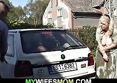 doggystyle fucking old blonde mother-in-law outdoors