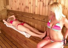 Hot and appetizing lesbos please each other in sauna