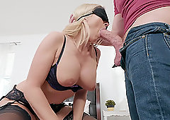 Blindfolded blonde MILF Christie Stevens rides a fat dick and gets cum