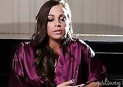 Abigail Mac interviews in a satin robe