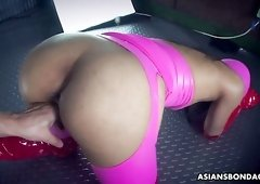 Japanese latex queen Chihiro Asai gets fucked doggy style hard enough