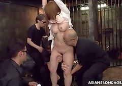 Tied up Japanese girl Hinata Komine gets her pussy toyed before squirting