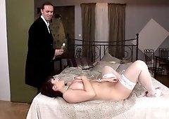 Dude oils up and fucks huge boobs of sexy Czech milf Kristi Klenot