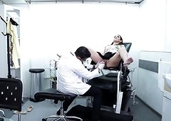 Horny doctor talks a naughty patient into playing with his dick