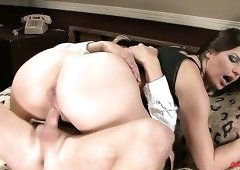 Bobbi Starr bouncing her sexy booty in a cowgirl position