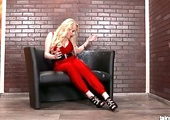 Tantalizing hooker in red clothes gets messy in the glory hole room
