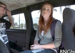 redhead in the van getting plowed real hard and deep