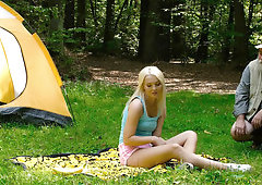 Blonde satisfied by old stranger during picnic in forest
