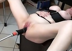 Masked wife with big hooters gets rammed by a mechanical toy