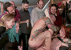 Mona Wales tied up and humiliated in public by Lilyan Red and many men