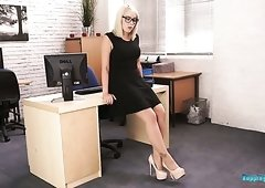 Awesome blond haired office lady Millie Rose has nothing against flashing her tits