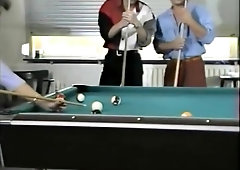 Classic German girl gets double-teamed on the pool table