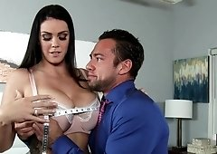 Alison Tyler gets her throat pussy & tits fucked & jizzed by her friend's bf
