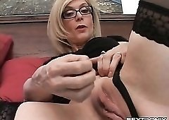 Naughty talk from Nina Hartley in glasses