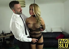 Blonde gets her ass filled with cock completely and moans
