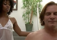 Ebony chick Misty Stone is fucked by several well endowed white dudes