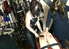 Anton is punished by his Mistress and her dominant friend