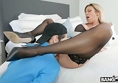 Hot cougar Alexis Fawx brings home a weak young man to fuck him senseless
