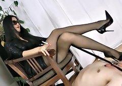 Hardcore Asian mistress dominates her submissive male sex slave