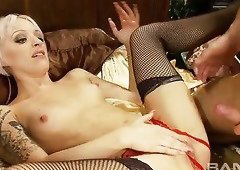 Wanton blond slut in red crotchless thongs Paige Fox gets fucked in mish and reverse poses tough