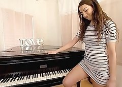 Horny student fucks her piano teacher