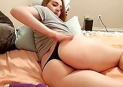 Nasty chick with big ass use her vibrator pleasuring her pussy