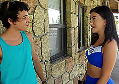 Sporty cheerleader teen Catania pounded hard outdoors