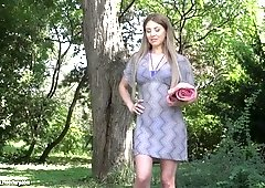 Sweet heart Paulina Soul gets her ass hole stretched in the garden